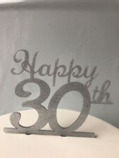 Happy 30th great for Birthday or Anniversary acrylic glitter Silver cake topper