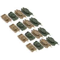 16 Pieces Classic Heavy 4D Tank Plastic Model 1:144 Scale 360 Rotatable Fort
