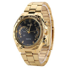 Luxury Women Men's Golden Stainless Steel Band Analog Quartz Sport Wrist Watch