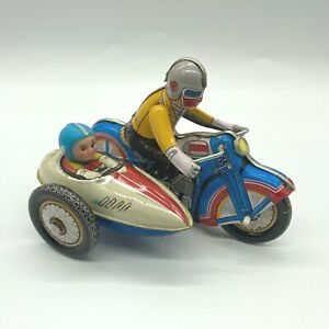 1970 Motorcycle with Sidecar Windup Litho Tin Toy Clockwork 605 Tested Working