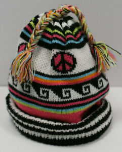 The Childrens Place Hat Size 7 8 Peace Sign Pink White Blue Striped Winter Girls