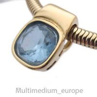 Pierre Lang Anhänger Halskette Collier blau massiv vergoldet signiert Karabiner