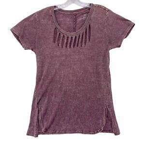 Affliction T Shirt Standard Series Red Short Sleeve Slit Neck Womens Large