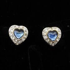 Gp Two Tone Clear Sapphire Color New 57 Heart Love Stud Earrings Jewel 18k W & Y