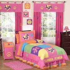 Sweet Jojo Designs Girls 'Groovy Peace' 4-piece Twin Comforter Set NIP