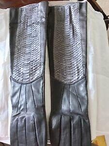 New JUDITH LEIBER Crystal Python Calf Skin Opera Length Gloves Silk Lined Sz 7