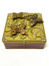 Butterfly Jewelry Trinket Box Enamel Jeweled Cloisonne Mirror Hinged