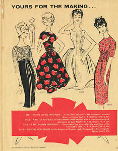 1950s Vintage Advance Fashion News Sewing Pattern Flyer 8 Pages December 1958