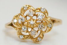 Beautiful 14K Yellow Gold .15 Ct Diamond Floral Style Cocktail/Cluster Ring