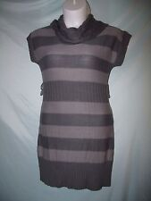 Route 66 Gray Striped Cowl Neck Acrylic Cap Sleeve Sweater Dress XL Juniors