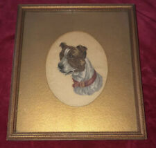 19th Century Framed Needlepoint Cameo Dog Portrait