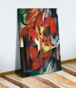 CANVAS WALL ART ARTWORK PRINT PICTURE DEEP FRAMED RED FRANZ MARC THE FOXES