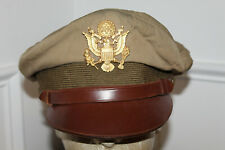 Scarce Original WW2 U.S. Army Air Forces Real Crusher Khaki Visor Cap w/Badge
