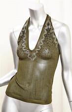 YVES SAINT LAURENT Womens Green Knit Beaded Halter Sleeveless Top Blouse S