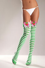 Sexy White and Green Striped Thigh-High Stockings w Strawberry Bow