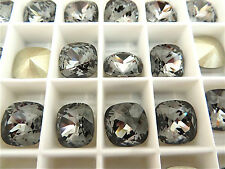 1 Silver Night Foiled Swarovski Crystal Square Cushion Cut  Stone 4470 12mm