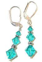 BLUE ZIRCON Teal Crystal Earrings Sterling Silver Dangle Swarovski Elements