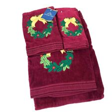 Holiday Time 3Pc Towel Burgundy Embroidered Holly Wreath Bath Hand Fingertip Nwt