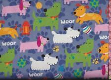 1/2 Yard Snuggle Cotton FLANNEL Multi-Color Cartoon Dogs on Blue  BTHY