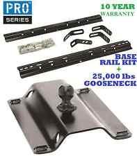 99-17 CHEVY SILVERADO 1500 2500 3500 BASE RAIL KIT & 25K GOOSENECK TRAILER HITCH