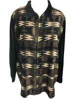Chico's Design Size 3 XL Womens Jacket Zip Up Southwest Tribal Print Black Brown