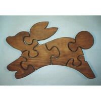 THE PUZZLE-MAN TOYS W-1138 Wooden Educational Jig Saw Puzzle - Jack Rabbit