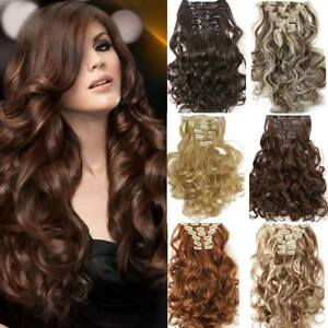 """FULL HEAD Clip In Hair Extensions CURLY / WAVY 20/22"""" - CHOOSE ANY COLOUR"""