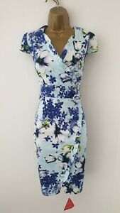 New - Joe Browns UK Size 14 Blue Floral Party Occasion Pencil Dress - Womens