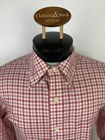 Brooks Brothers Mens Sz M Regular Fit Red Check Long Sleeve Dress Shirt Non Iron