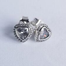 *NEW* Genuine Pandora Silver Sparkling Love Heart Stud CZ Earrings 290568CZ