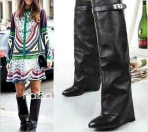 Womens Shark Tooth Hot Sexy 100% Leather Boots Combat Style Knee-High Shoes SIZE