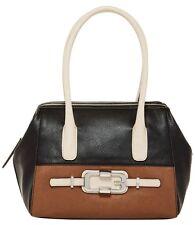 GUESS JONSI Handbag Satchel Shoulder Bag Black Brown Colorblock Multi NWT