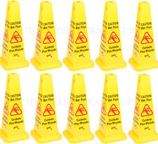 "10 PACK Restaurant Caution Wet Mop Bucket Floor Yellow 27"" CONE Sign Commercial"