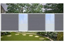 Komplett Set f. 7,40 Meter Steckzaun Sichtschutz Zaun WPC anthr./Glas