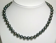 9mm AAA quality peacock black freshwater pearl & 9 carat white gold necklace