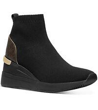 NIB Size 5 Michael Kors Skyler Sneaker Booties MK Logo Brown Black