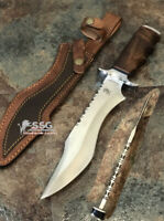 CUSTOM  D-2 TOOL STEEL Burl Wood BEAUTIFUL HUNTING Survival BOWIE WITH SHEATH