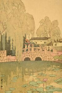 Old Japanese Hiroshi Yoshida Unmounted Woodblock Print Willow Stone Bridge Sg