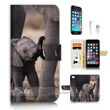 ( For iPhone 6 / 6S ) Wallet Case Cover P3495 Elephant