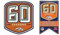 DENVER BRONCOS 60TH ANNIVERSARY PIN PATCH COMBO 1960 - 2019 NFL SUPER BOWL 54 ?