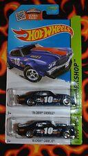 HOT WHEELS HW WORKSHOP ' 70 CHEVY CHEVELLE METAL FLAKE BLUE 194/250 SET OF TWO