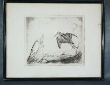 Jack Levine 1915–2010 Modernist Original Etching Art Print Wild Bird Ducks Swamp