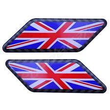 2X Carbon fiber outline UK Union Jack flags arrow 3D Decal domed for Triumph