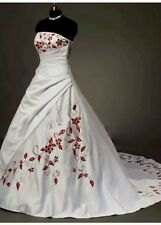 New White and Red Embroidery Wedding Dress  Ball BridalGown Size 6-18 UK