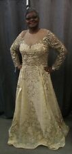 LARA DRESSES, Illusions Long Sleeve Mother of Bride Tan Lace Gown, 39670