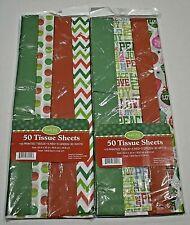 "Gift Wrap/Tissue Sheets, 20x20"" Variety 100 Sheets Holidays, New, Free Shipping!"