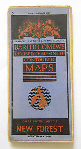 Bartholomew's Revised Map of New Forest  Half-Inch Vintage Cloth Map  VGC