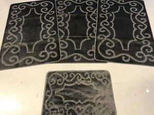 ROMANY GYPSY WASHABLE FULL SET OF MATS/RUGS REGULAR  SIZE NON SLIP DARK GREY