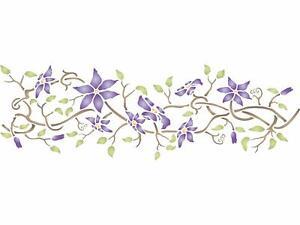 Clematis Stencil 52 x 16.5cm Reusable Flower Border Template Wall Fabric Glass