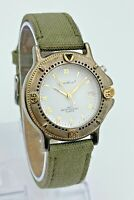 Vintage Unisex EDDIE BAUER Light-Up Diver Style Two-Tone Watch Date, Green Strap